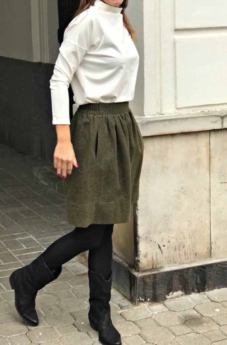 Spódnica wełniana Iris Khaki