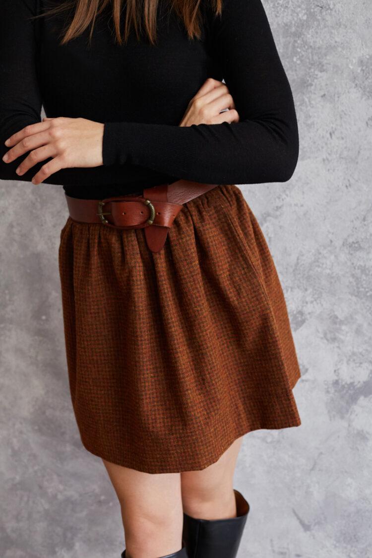 Spódnica wełniana Iris Ruda