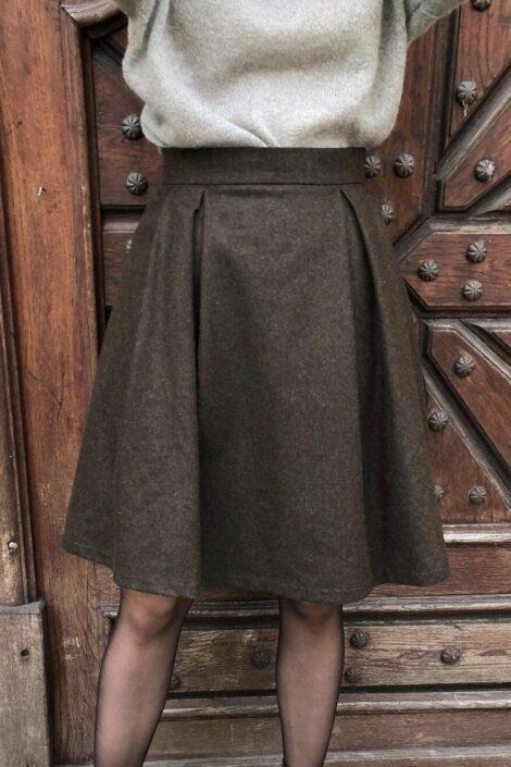 Spódnica wełniana Uma Brąz